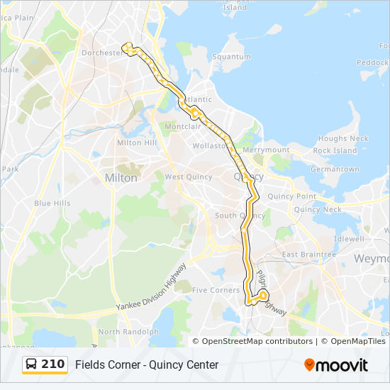 210 Route: Time Schedules, Stops & Maps - Fields Corner