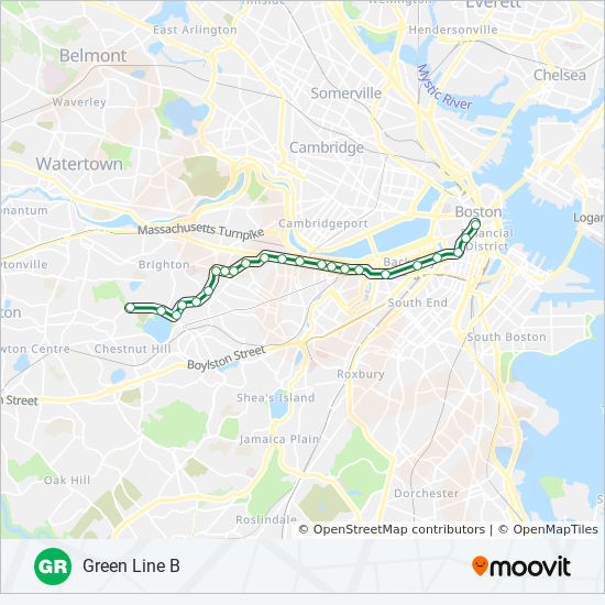 GREEN LINE B Route: Time Schedules, Stops & Maps - Boston College