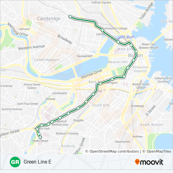 Legal Crossing In Boston Subway Map.Green Line E Route Time Schedules Stops Maps Heath Street