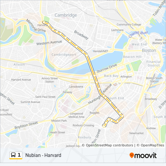Boston Map Harvard.1 Route Time Schedules Stops Maps Harvard