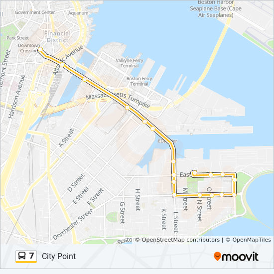 Downtown Boston Map Pdf.7 Route Time Schedules Stops Maps City Point Via East First St