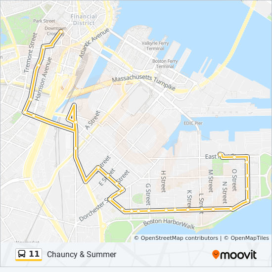 Downtown Boston Map Pdf.11 Route Time Schedules Stops Maps Bayview