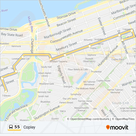 Downtown Boston Map Pdf.55 Route Time Schedules Stops Maps Queensberry St