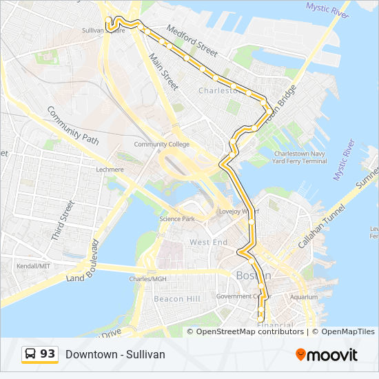 Downtown Boston Map Pdf.93 Route Time Schedules Stops Maps Downtown Via Navy Yard