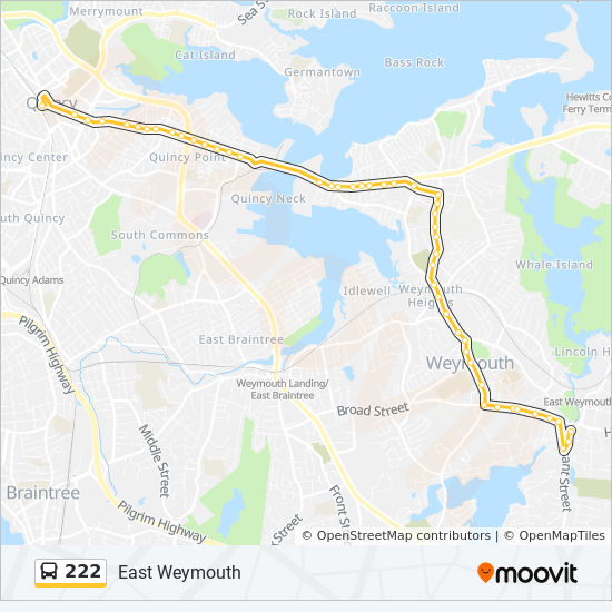 222 Route Time Schedules Stops Amp Maps East Weymouth