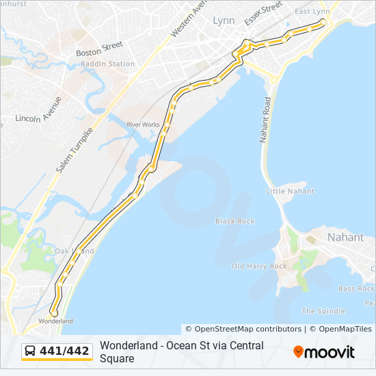 441 442 Route Time Schedules Stops Amp Maps Ocean St Via