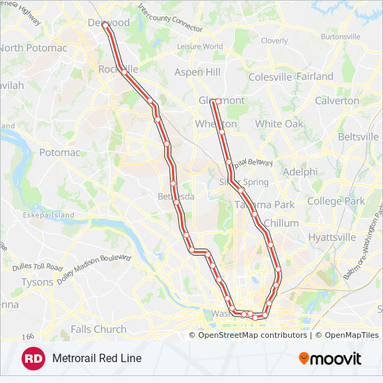 Metrorail Red Line Route Time Schedules Stops Maps Towards
