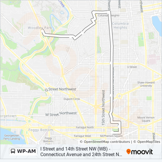 Adams Morgan Dc Map.Wp Am Route Time Schedules Stops Maps Mcpherson Square Metro