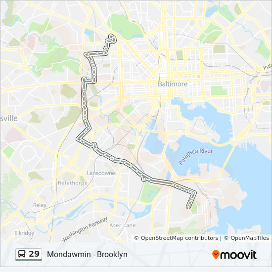 29 Route Time Schedules Stops Maps 29 Mondawmin Metro Via