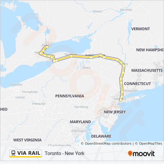Via Rail Route Time Schedules Stops Maps Niagara Falls