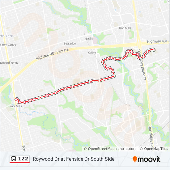 122 Route Time Schedules Stops Amp Maps York Mills Station