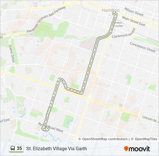 map of st elizabeth village hamilton 35 Route Time Schedules Stops Maps St Elizabeth Village Via map of st elizabeth village hamilton