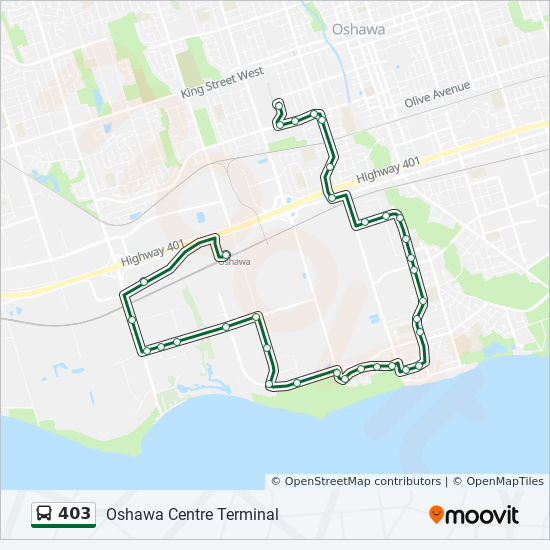 Durham Transit Map 403 Route: Time Schedules, Stops & Maps   Oshawa Centre Terminal