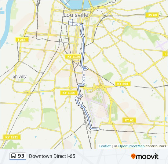 93 Route: Time Schedules, Stops & Maps