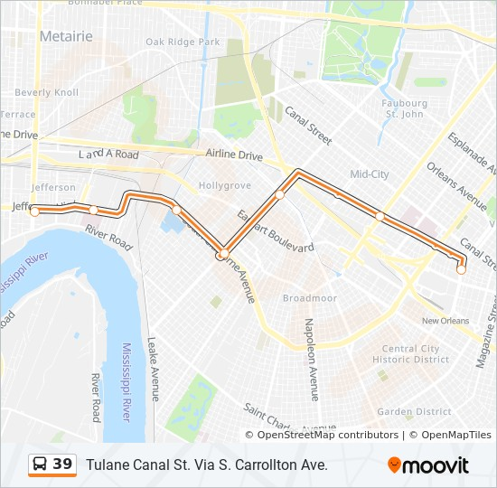 39 Route Time Schedules Stops Maps Tulane Canal St Via S