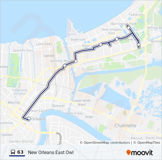 new orleans bus map 63 Route Time Schedules Stops Maps New Orleans East Owl new orleans bus map