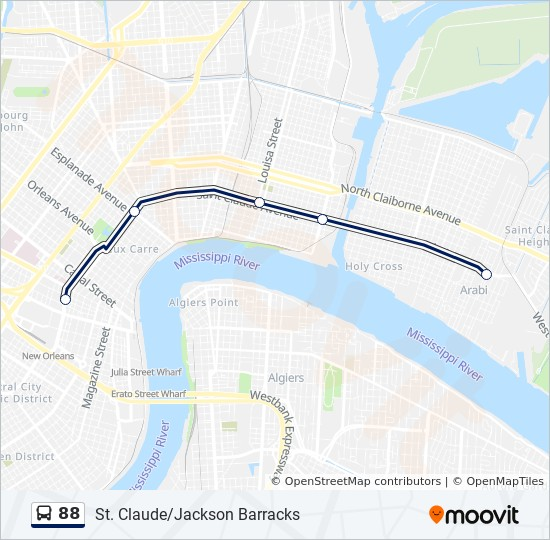 88 Route Time Schedules Stops Maps St Claude Lower 9th Ward