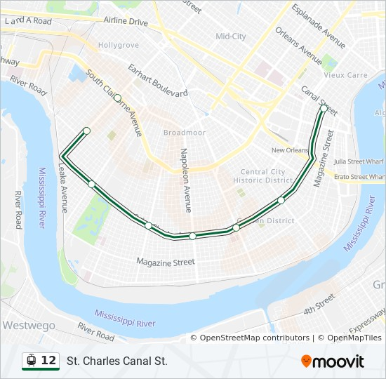 Streetcars In New Orleans Map.12 Route Time Schedules Stops Maps St Charles To S