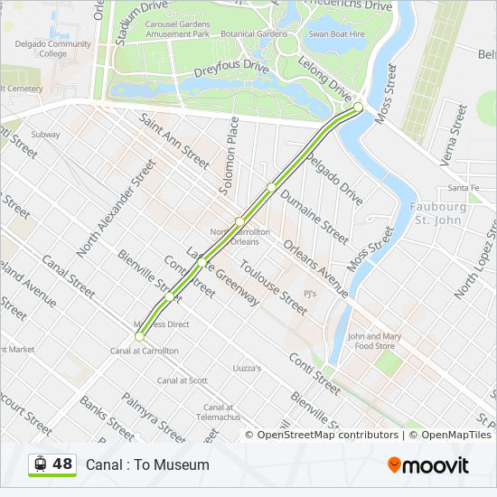 Streetcar In New Orleans Map.48 Route Time Schedules Stops Maps Canal Harrah S