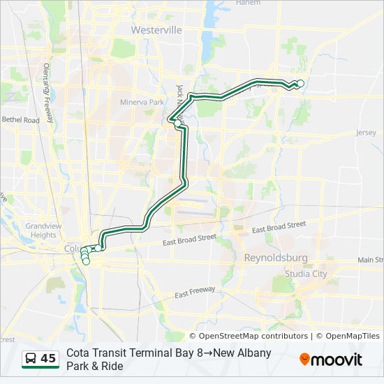 45 Route: Time Schedules, Stops & Maps