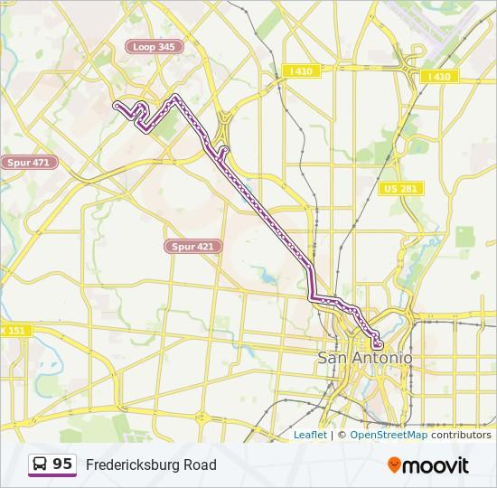 san antonio bus routes map 95 Route Time Schedules Stops Maps Stmc Transit Center san antonio bus routes map