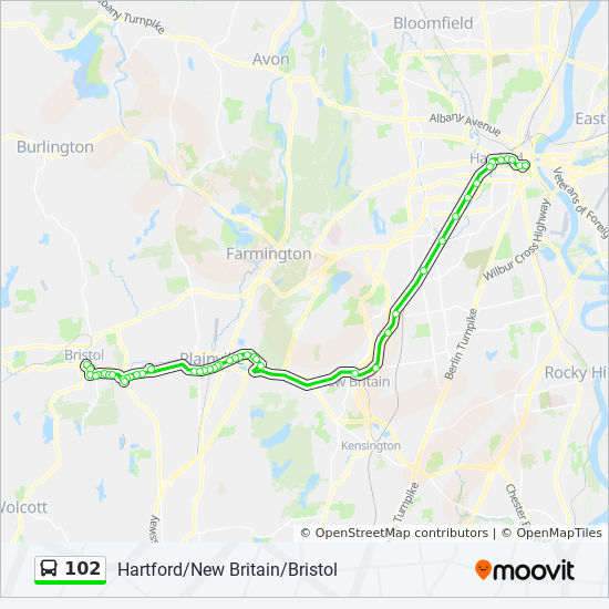 102 Route: Time Schedules, Stops & Maps - 102 - Hartford Via New Britain