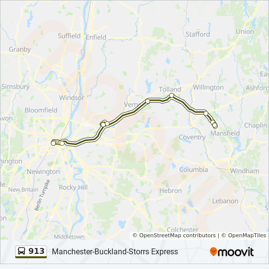 913 Route Time Schedules Stops Maps 913 Buckland Storrs Express