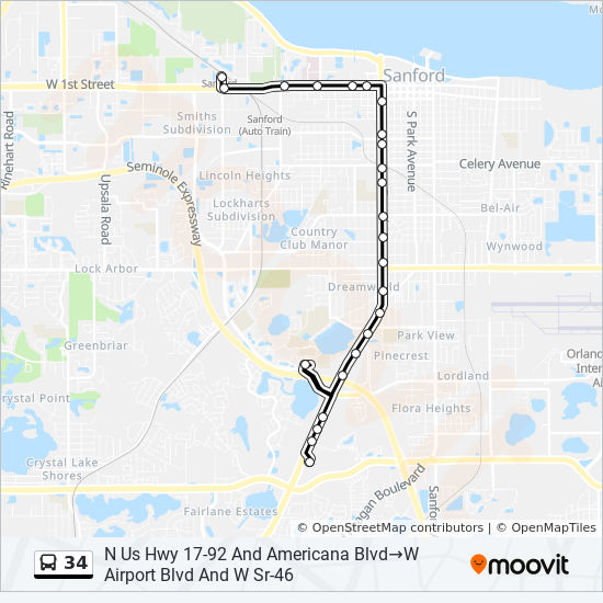 Map Of Sanford Florida.34 Route Time Schedules Stops Maps