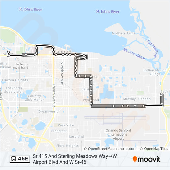 Map Of Sanford Florida.46e Route Time Schedules Stops Maps