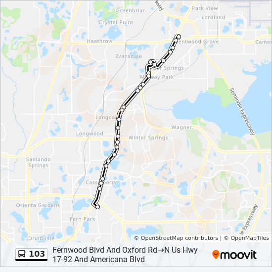 Map Of Sanford Florida.103 Route Time Schedules Stops Maps