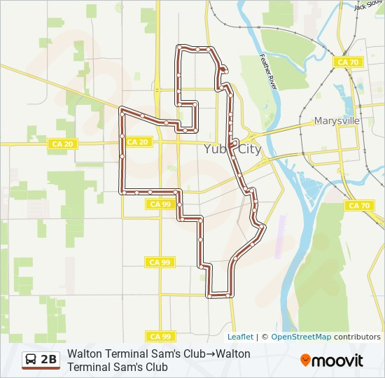 2B Route: Time Schedules, Stops & Maps - Walton Terminal Sam's Club on city of menlo park map, auberry map, city of watsonville map, california map, west roseville map, downieville map, yuba river map, port costa map, city of porterville map, yuba-sutter map, yuba county map, sutter county map, mountain ranch map, fish camp map, city of grass valley map, city of pacifica zoning map, los angeles map, wishon map, yuba college map, sutter ca map,