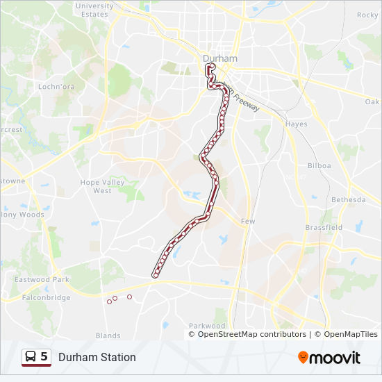 5 Route: Time Schedules, Stops & Maps