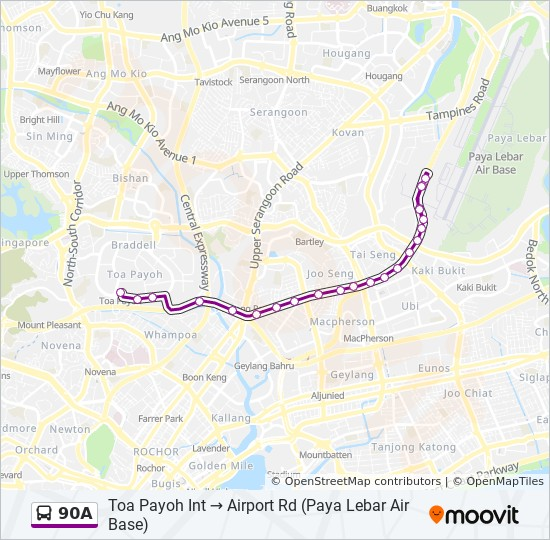 90A Route: Time Schedules, Stops & Maps - Airport Rd (Paya Lebar Air ...