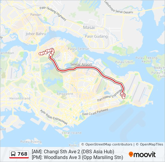 768 Route Schedules Stops Amp Maps Changi Sth Ave 2 Dbs
