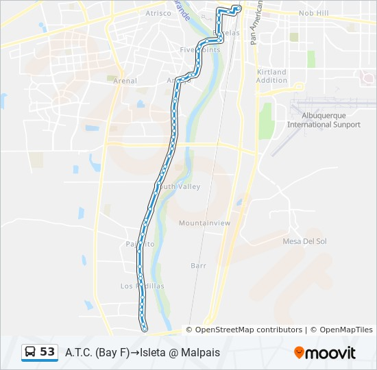 53 Route: Time Schedules, Stops & Maps - A.T.C. (Bay F ... on albuquerque parks map, albuquerque area zip code map, albuquerque international sunport map, sunset map, albuquerque new mexico map, old town albuquerque map, downtown albuquerque map, albuquerque city map, albuquerque bike map, albuquerque neighborhood map, abc map, albq map, albuquerque academy map, albuquerque county map, albuquerque airport map, fat map, jan map, end times map, albuquerque new home location map, san map,