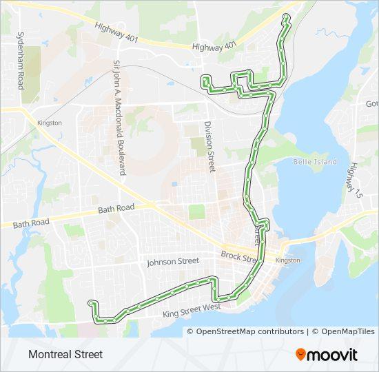 Mapa da linha 1 de ônibus