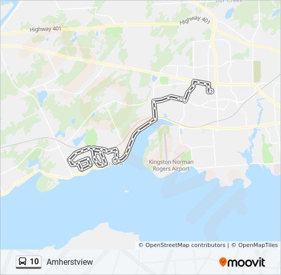 Mapa da linha 10 de ônibus