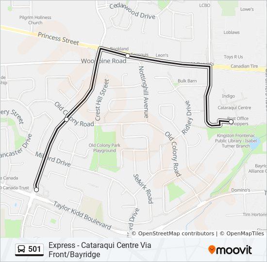Mapa da linha 501 de ônibus