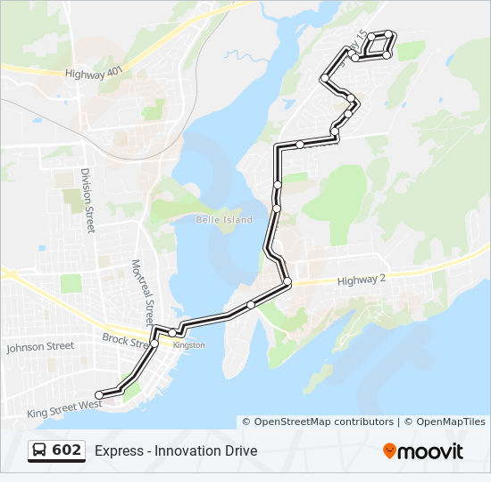 Mapa da linha 602 de ônibus