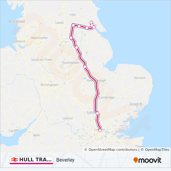 HULL TRAINS train Line Map