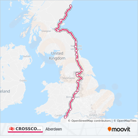 Mapa de CROSSCOUNTRY de tren
