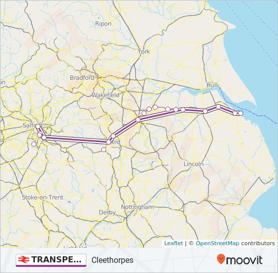 TRANSPENNINE EXPRESS train Line Map