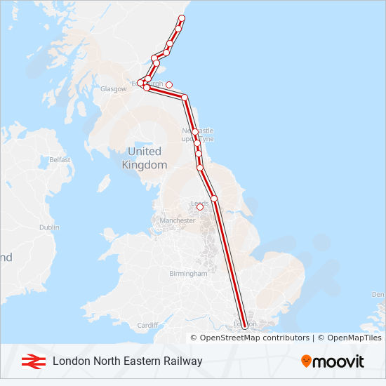 LONDON NORTH EASTERN RAILWAY Route: Time Schedules, Stops & Maps ...