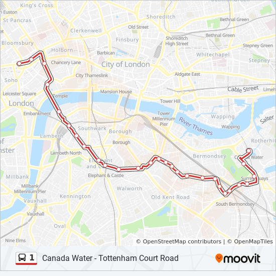 Download Map London.1 Route Time Schedules Stops Maps Canada Water
