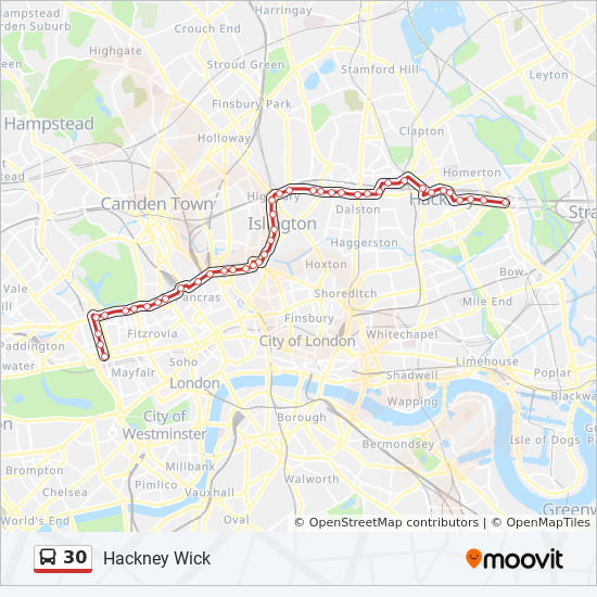 Map Bus London.30 Route Time Schedules Stops Maps Hackney Wick
