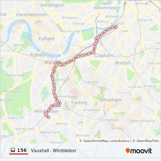156 Route: Time Schedules, Stops & Maps - Wimbledon on