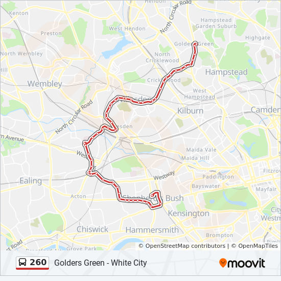 Golders Green Map 260 Route: Time Schedules, Stops & Maps   Golders Green