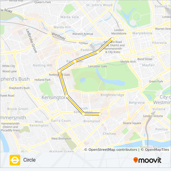 South Kensington London Map.Circle Route Time Schedules Stops Maps Edgware Road Hammersmith