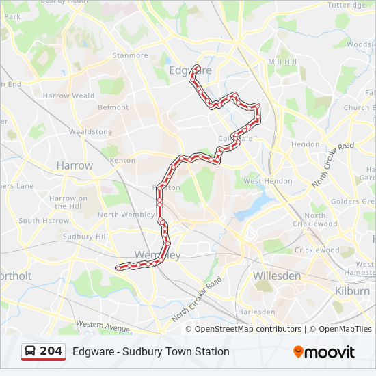 204 Route: Time Schedules, Stops & Maps - Edgware