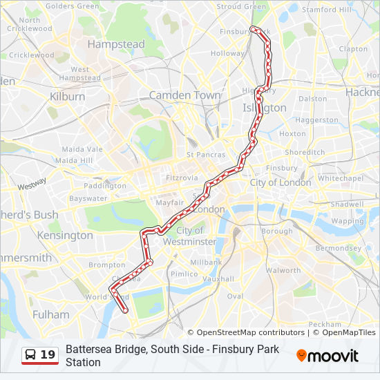 Map Bus London.19 Route Time Schedules Stops Maps Battersea Bridge South Side